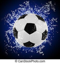 vatten, plaska, fotboll bal