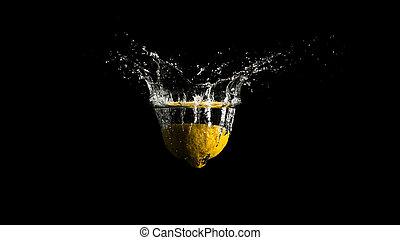 vatten, plaska, från, den, yta, av, den, flytande