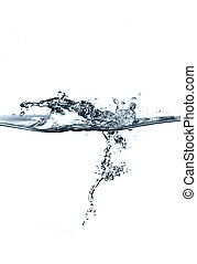 vatten, plaska, isolerat, vita