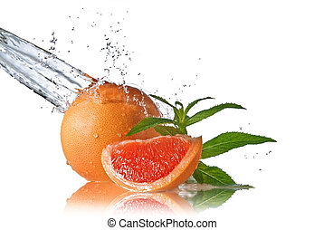 vatten, plaska, på, grapefrukt, med, mynta, isolerat, vita