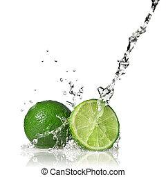vatten, plaska, på, lime, isolerat, vita