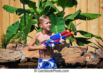 vatten, pojke, ung, gevär