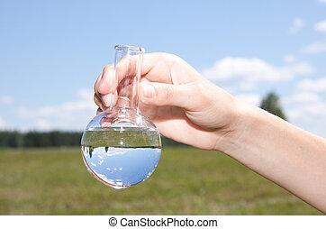 vatten, pröva, renhet