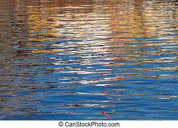 vatten, reflections., färgglatt, skvalpar