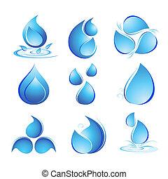 vatten, sätta, droppar