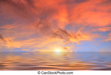 vatten, skyn, solnedgång, röd, ovanför