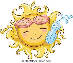 vatten, sol, buteljera, holdingen