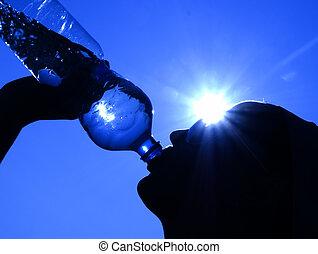 vatten, sol, drickande, kvinna