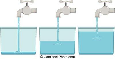 vatten, spannen, kran