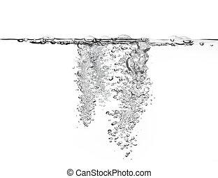 vatten, stort, belopp, bubblar, luft