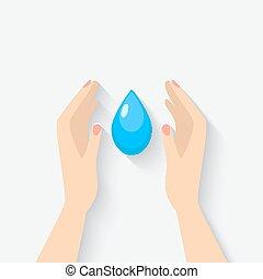vatten, symbol, droppe, räcker