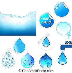 vatten, symboler, sätta