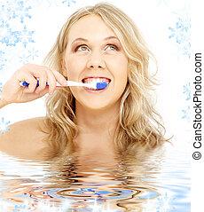 vatten, tandborste, blond, lycklig