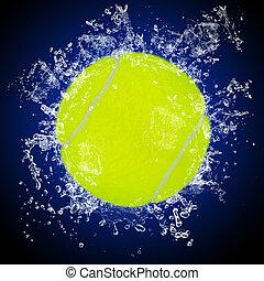 vatten, tennis, plaska, boll