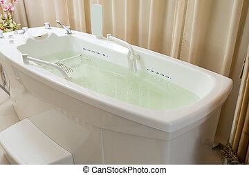 vatten, tom, bubbelpool, kurort, bada, fyllt