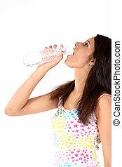 vatten, tonårig, drickande, flicka