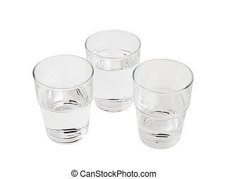vatten, tre glasögon