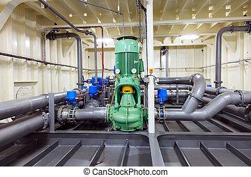 vatten, utrustning, rörledning, -, pump
