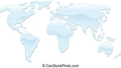 vatten, värld, illustration, karta