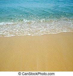vatten, våg, och, sand, bakgrund