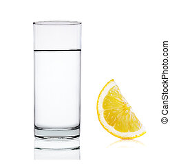 vatten, vit, citron, isolerat, bakgrund