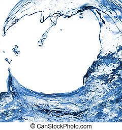 vatten, vit, plaska, isolerat, våg