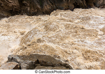vatten, yangtze, grov, flod