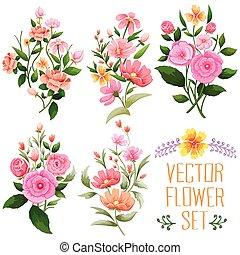 vattenfärg, årgång, blomma, bukett