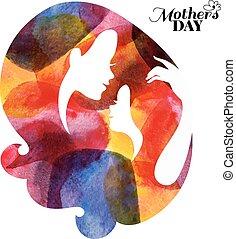vattenfärg, baby., silhuett, henne, mor