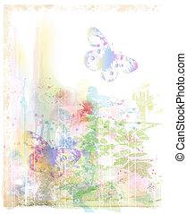 vattenfärg, bakgrund, med, fjärilar