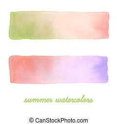 vattenfärg, baner, set.