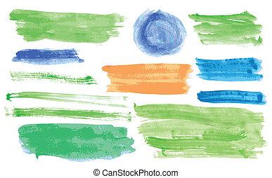 vattenfärg, baner, vektor, sätta