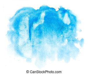 vattenfärg, blå, abstrakt, bakgrund