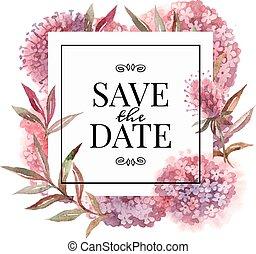 vattenfärg, blomningen, inbjudan, kort, bröllop