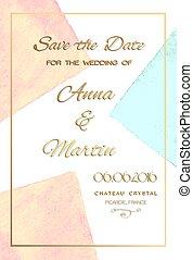 vattenfärg, bröllop, kort, bakgrund, inbjudan