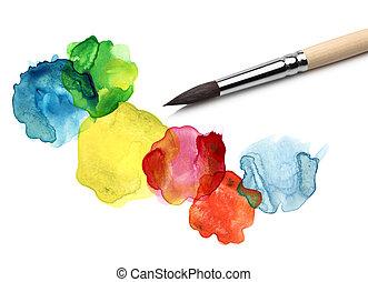 vattenfärg, bstract, cirkel, målning, borsta
