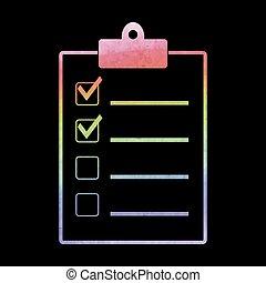 vattenfärg, checklista, ikon