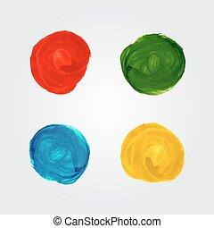 vattenfärg, cirkel, plaska, lysande, elementara