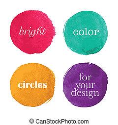 vattenfärg, cirklarna