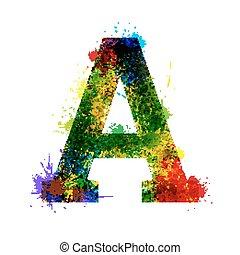 vattenfärg, designer, alphabet., symboler, isolerat,...