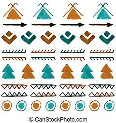 vattenfärg, etnisk, seamless, pattern., hand, oavgjord, abstrakt, stam, b