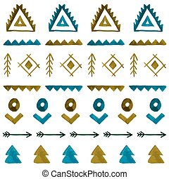 vattenfärg, etnisk, seamless, pattern., hand, oavgjord, stam, bakgrund