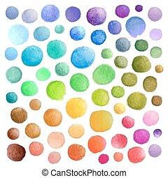 vattenfärg, fläckar, vektor