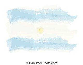 vattenfärg, flagga, argentina