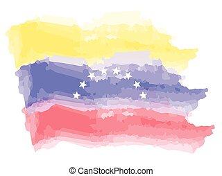 vattenfärg, flagga, venezuela