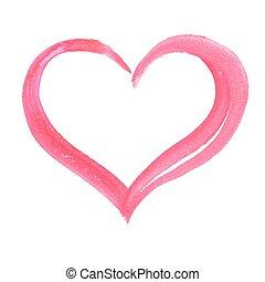vattenfärg, heart.