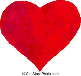 vattenfärg, hjärta