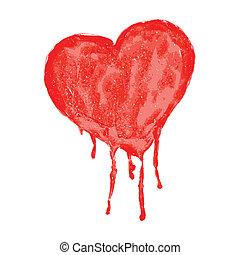 vattenfärg, hjärta, vektor, -, illustration