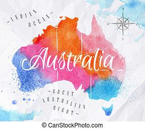 vattenfärg, karta, australien, rosa, blå