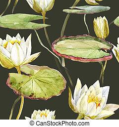 vattenfärg, lotus, mönster